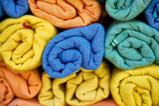 Rolled colorful towels Free Photo