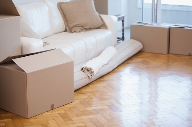 Rolled up carpet and boxes Premium Photo