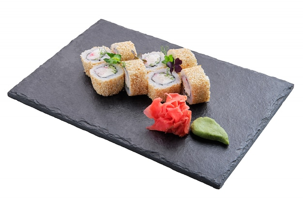 Rolls with salmon and sesame isolated Premium Photo