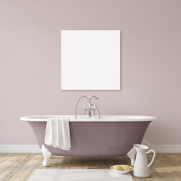 Романтическая ванная комната. макет интерьера и кавы. 3d визуализация. Premium Фотографии