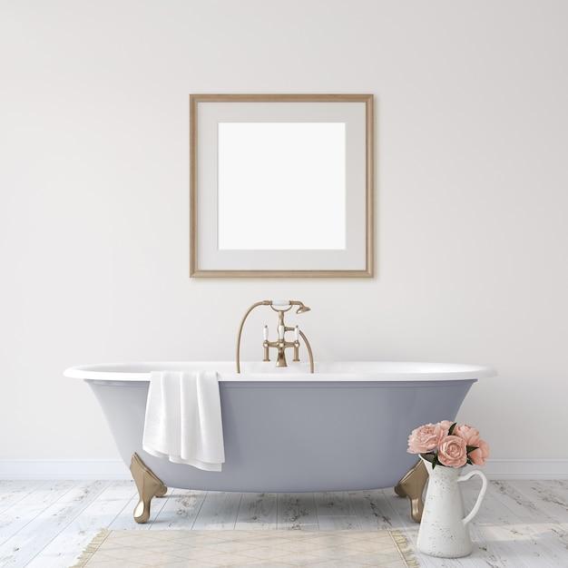 Романтическая ванная комната. макет интерьера и каркаса. 3d визуализация. Premium Фотографии