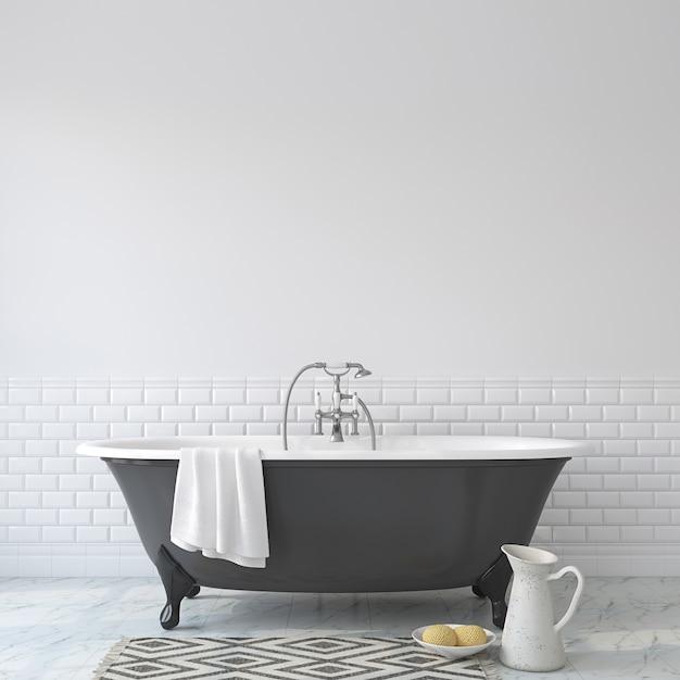 Романтическая ванная комната. макет интерьера. 3d визуализация. Premium Фотографии