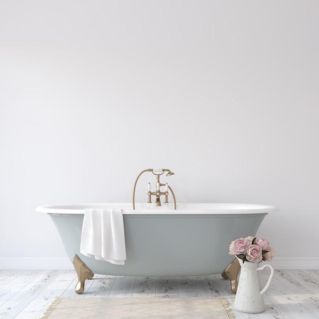 Романтическая ванная комната. макет интерьера. 3d рендеринг. Premium Фотографии