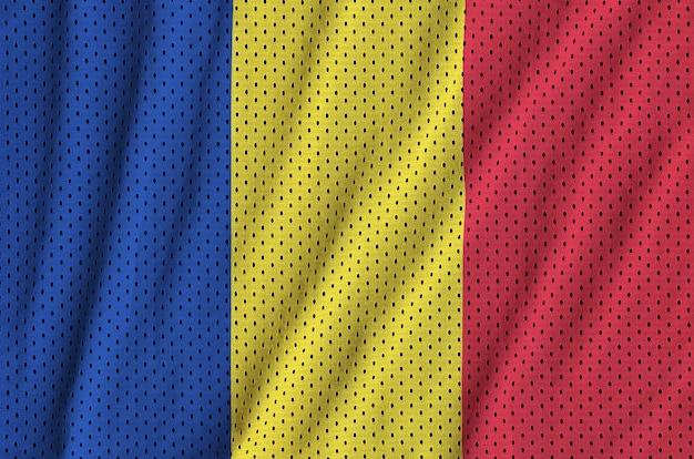 Romania flag printed on a polyester nylon sportswear mesh fabric Premium Photo