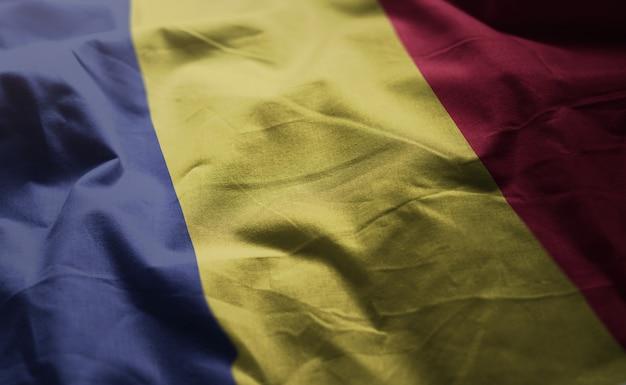 Romania flag rumpled close up Premium Photo