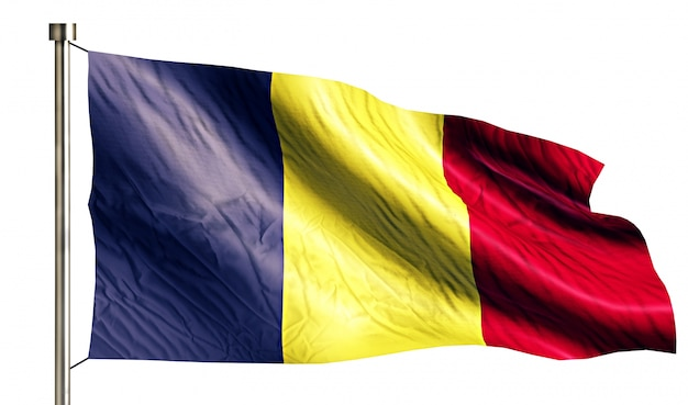 Romania national flag isolated 3d white background Free Photo