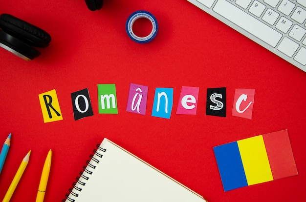 Romanian lettering on red background Free Photo