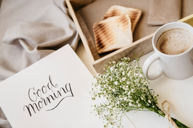 Romantic breakfast in the bed Free Photo