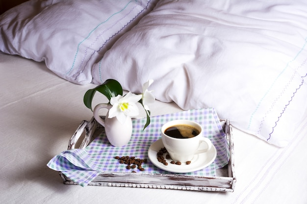Premium Photo | Romantic cup of coffee in bed
