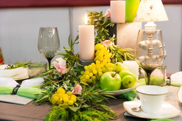 Premium Photo Romantic Dinner Table With Decoration Nobody