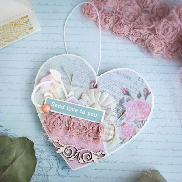 Romantic handmade paper heart Premium Photo