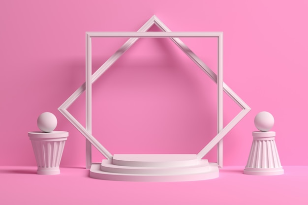 Romantic pink presentation podium with empty blank space and abstract architectural shapes Premium Photo
