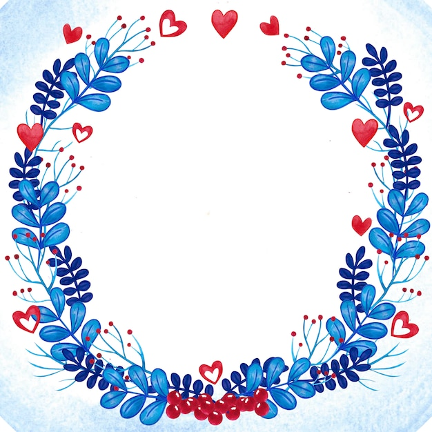 Romantic watercolor floral wreath frame blue and red Premium Photo
