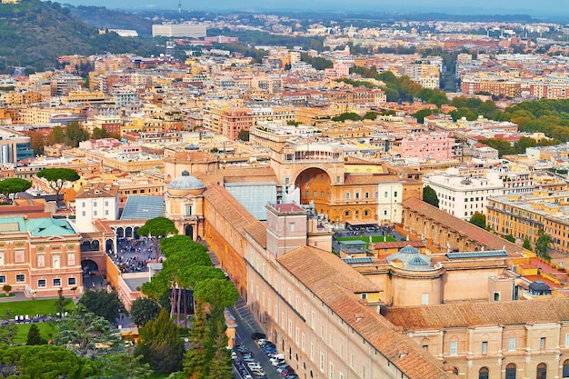 Rome panorama building evening, rome rooftop view with ancient architecture in italy Premium Photo