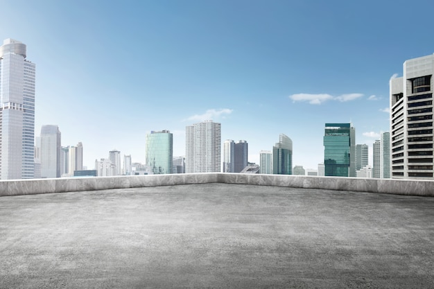 The roof of building with skyscrapers view Premium Photo