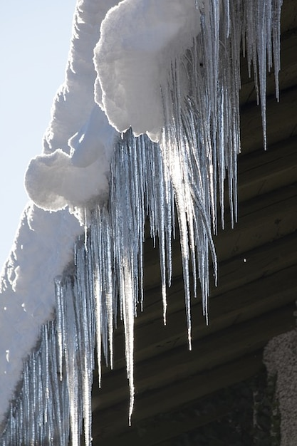 Roof Frost Winter Cold Icicle Gutter Ice Photo Free Download