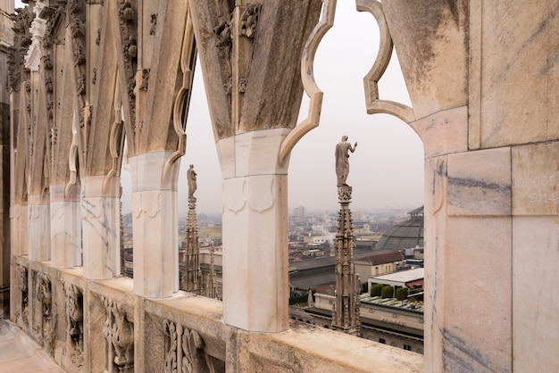 On the roof of milan cathedral in italy. Premium Photo