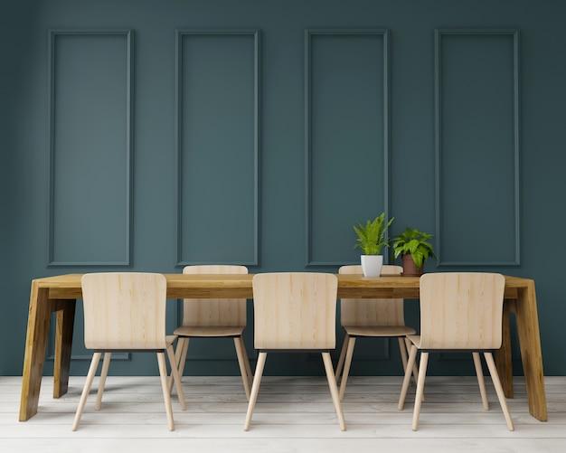 大きなroom.interiorデザイン、アールデコスタイル、緑の壁の3 dレンダリングのダイニングテーブル Premium写真
