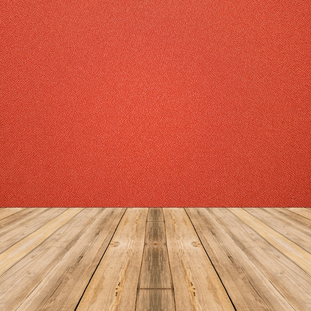 Room interior with red cloth wall and wood floor background Free Photo