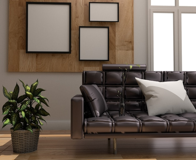 Room scandinavian style, wooden floor and frame on wooden wall background. Premium Photo