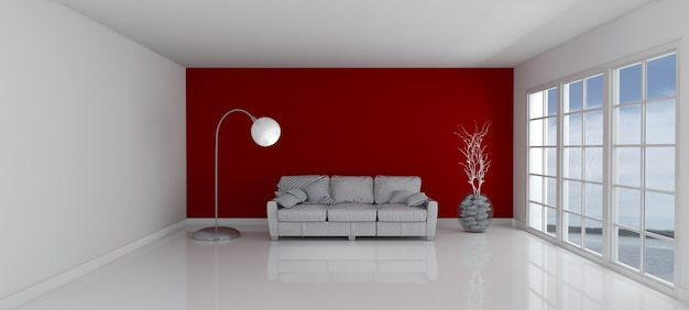 Room with a red wall and a couch Photo : Free Download
