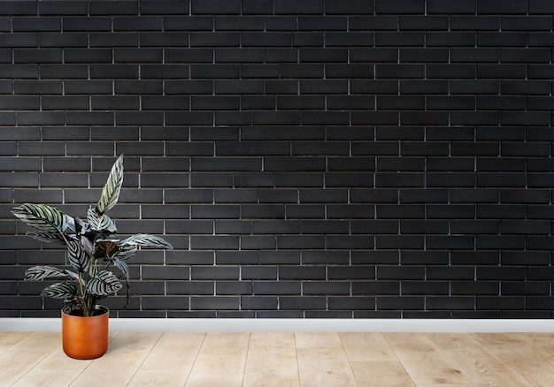 Room with a black brick wall Free Photo