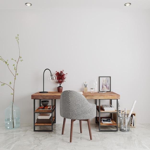 나무 테이블과 의자 3d 렌더링 방 프리미엄 사진