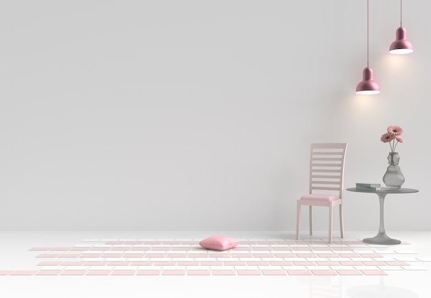 Rooms of love on valentine`s day. decor with chair, flower, pillows, pink lamp. 3d render. Premium Photo