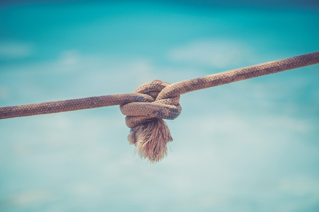 Rope with a knot on blue background Premium Photo