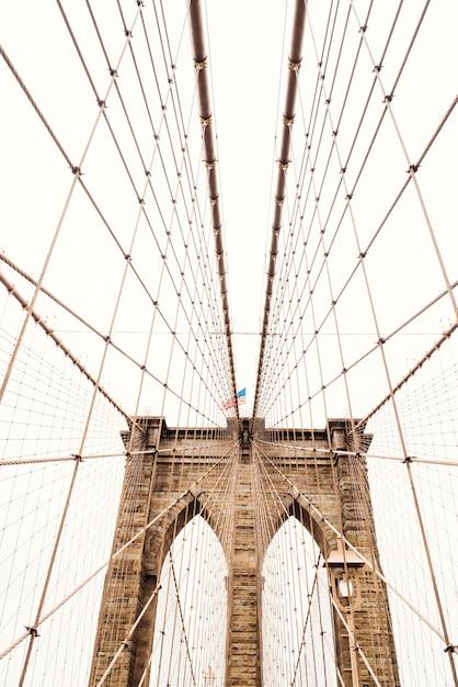 Ropes on brooklyn bridge Free Photo