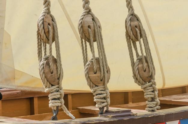 Ropes and sail of an old sailing ship Premium Photo