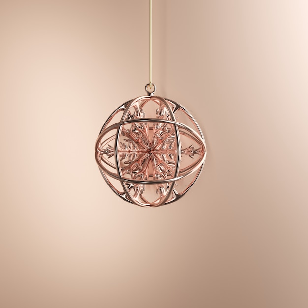 Rose Gold Ornaments Christmas Ball On Golden Background Minimal