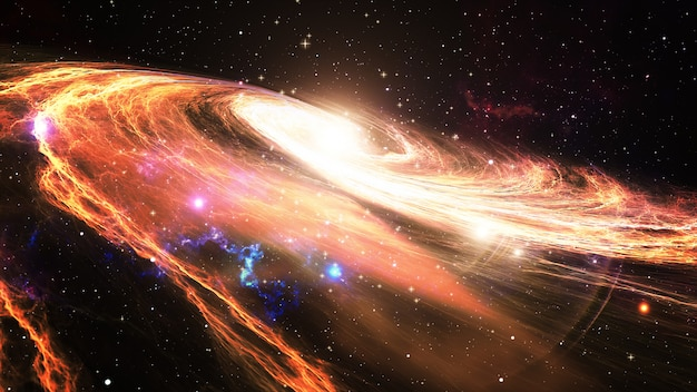 Rotating spiral galaxy with stars in outer space 3d illustration Premium Photo
