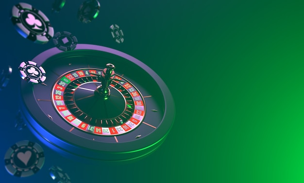 Roulette casino on a dark dynamic falling of casino chips and roulette on a dark casino Premium Photo