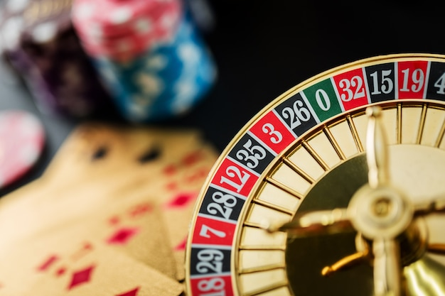 Roulette wheel gambling in a casino table Premium Photo