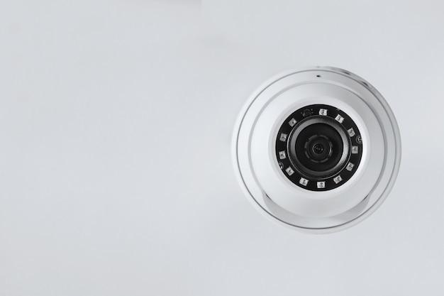 Round cctv camera close-up. security system. Premium Photo