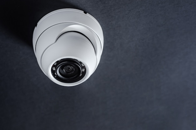 Round cctv camera. security system. Premium Photo