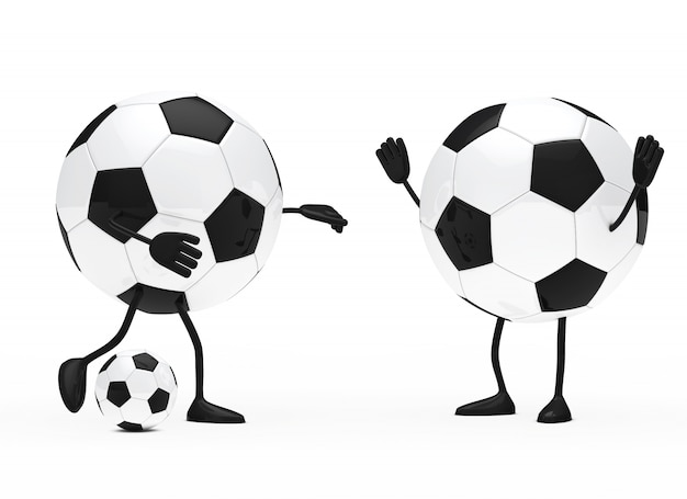 Round characters playing football Free Photo