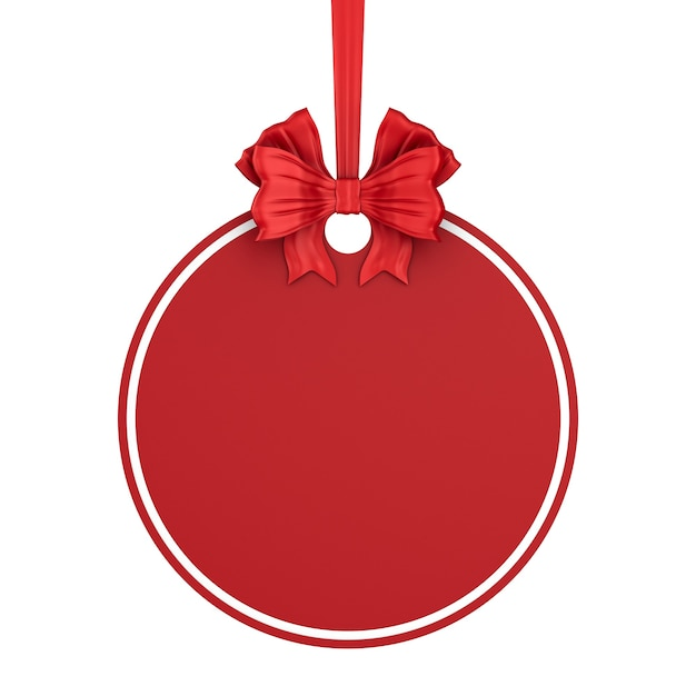 Round christmas label with red ribbon and bow on white background. isolated 3d illustration Premium Photo