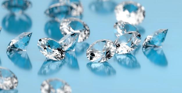 青い表面、3 dイラストレーションに配置されたラウンドダイヤモンドグループ。 Premium写真