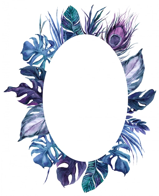 Round frame exotic bird feathers and tropical leaves wreath Premium Photo