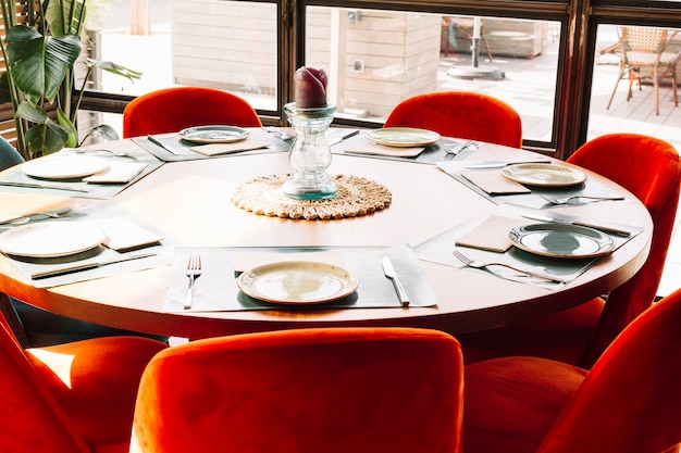 Round Table La Mesa.Round Table Arrangement In A Restaurant Photo Free Download