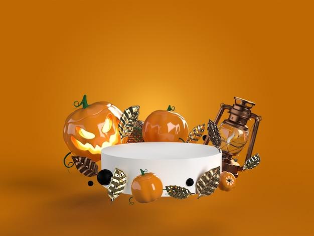 Круглый белый подиум с тыквами на хэллоуин, золотыми листьями, фонарем, черным жемчугом Premium Фотографии