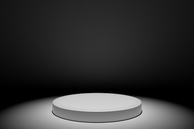 Round white stage podium concept illustration isolated on black background. festive podium scene for award ceremony. white pedestal for product presentation. 3d rendering Premium Photo
