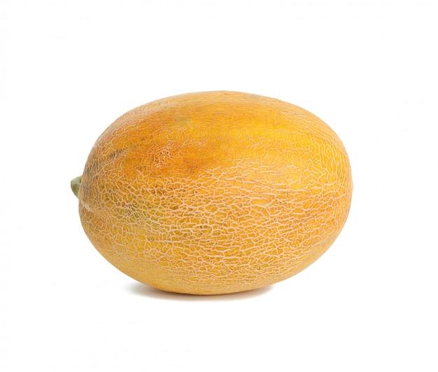 Round yellow ripe melon isolated on white background, close up Premium Photo