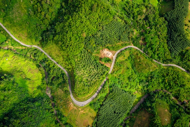 The route on the mountain connecting the city at chiang rai thailand Premium Photo