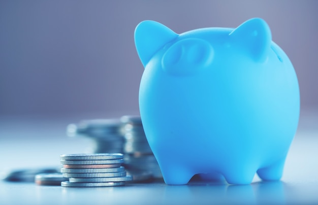 Row of coins on wood background for finance and saving concept Premium Photo