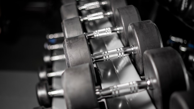 Row of dumbbell in fitness gym Premium Photo
