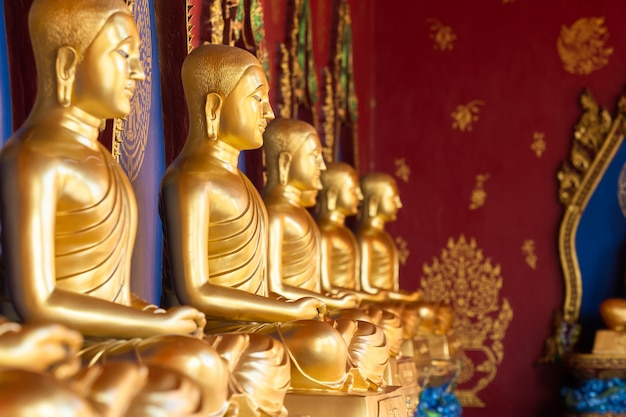 Row of golden thai's buddha statue in wat bang thong (wat mahathat wachira mongkol). it is a beautiful buddhist temple and famous temple in krabi, thailand Premium Photo