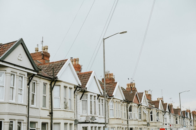 Row of houses in a suburban area Free Photo
